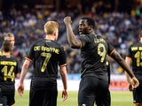 Belgium's forward Romelo Lukaku (2nd-R) celebrates after scoring a goal during the friendly football match between Sweden and Belgium at Friends Arena in Solna, near Stockholm on June 1, 2014