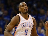 Serge Ibaka #9 of the Oklahoma City Thunder runs up the court after a play against the San Antonio Spurs during Game Three of the Western Conference Finals on May 25, 2014