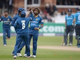 Lasith Malinga of Sri Lanka celebrates dismissing Jos Buttler of England during the 4th Royal London One Day International match between England and Sri Lanka at Lord's Cricket Ground on May 31, 2014
