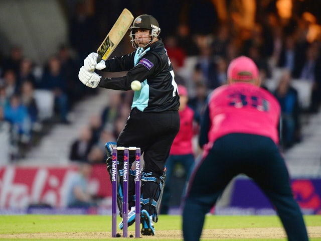 Azhar Mahmood of Surrey bats during the NatWest T20 Blast match between Surrey and Middlesex Panthers at The Kia Oval on May 30, 2014