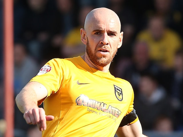 Tom Newey of Oxford United in action during the Sky Bet League Two match between Northampton Town and Oxford United at Sixfields Stadium on May 3, 2014
