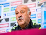 Head coach Vicente Del Bosque of Spain faces the media during a press conference ahead of their international friendly match against Bolivia at the Ramon Sanchez Pizjuan stadium on May 29, 2014