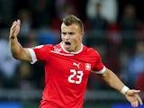 Bayern Munich winger Xherdan Shaqiri celebrates scoring for Switzerland on October 12, 2012.