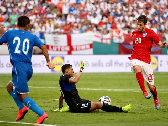England's Adam Lallana shoots for goal against Honduras on June 07, 2014.