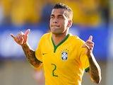 Dani Alves of Brazil celebrates after scoring a goal during the International Friendly Match between Brazil and Panama at Serra Dourada Stadium on June 03, 2014