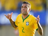 Dani Alves of Brazil celebrates after scoring a goal during the International Friendly Match between Brazil and Panama at Serra Dourada Stadium on June 03, 2014