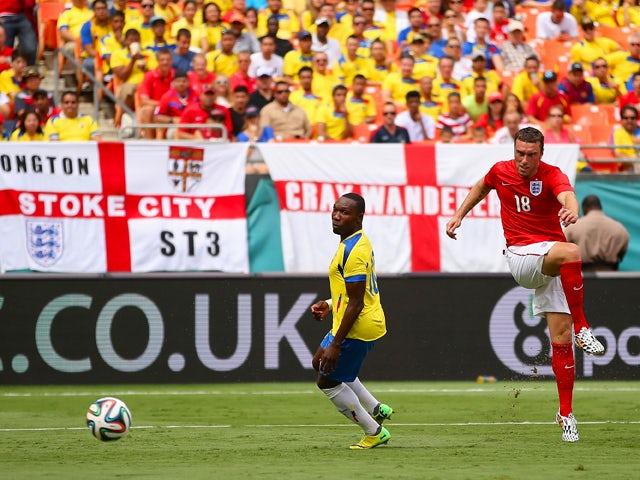 Rickie Lambert of England scores their second goal during the International friendly match between England and Ecuador at Sun Life Stadium on June 4, 2014