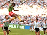 Cameroon's Francois Omam-Biyick's heads in the winning goal against Argentina on June 08, 1990.