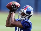 Jayron Hosley #36 of the New York Giants works out during Giants minicamp at Timex Performance Center on May 11, 2012