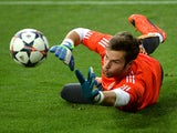 Real Madrid's goalkeeper Jesus Fernandez warms up during a training session at the Dortmund stadium, western Germany on April 7, 2014