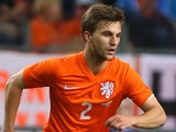 Joel Veltman of Holland attacks during the International Friendly match between The Netherlands and Ecuador at The Amsterdam Arena on May 17, 2014