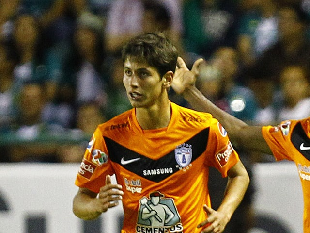 Pachuca player Jurgen Damm during the match against Leon at Nou Camp stadium on May 15, 2014