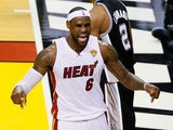Miami Heat forward LeBron James celebrates during the 2013 NBA Finals on June 20, 2013