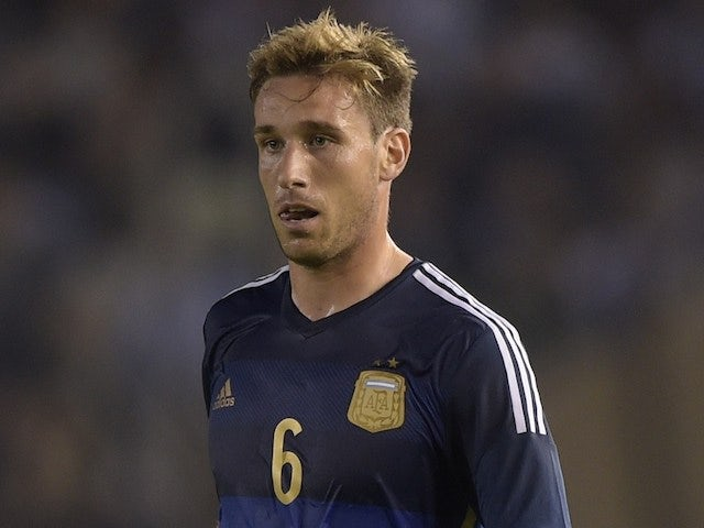 Argentina's midfielder Lucas Biglia controls the ball during a friendly football match against Trinidad and Tobago at the Monumental stadium in Buenos Aires, Argentina on June 4, 2014