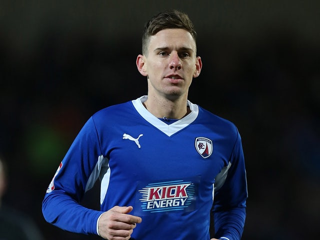 Mark Randall of Chesterfield in action during the npower League Two match between Chesterfield and Northampton Town at the Proact Srtadium on January 12, 2013
