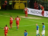 Maxime Chanot of Luxembourg celebrates after scoring his teams first goal during the international friendly match between Italy and Luxembourg on June 4, 2014