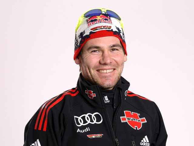 Biathlete Michael Roesch of Germany poses during a photo call on October 26, 2010