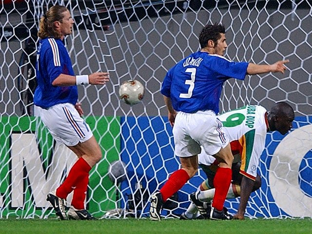Papa Bouba Diop scores the only goal of the game for Senegal against France on May 31, 2002.