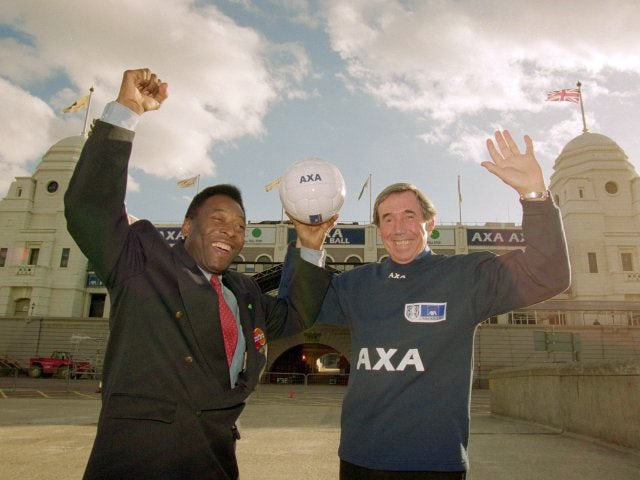 Brazil's Pele and England's Gordon Banks stand outside Wembley on October 30, 2000.
