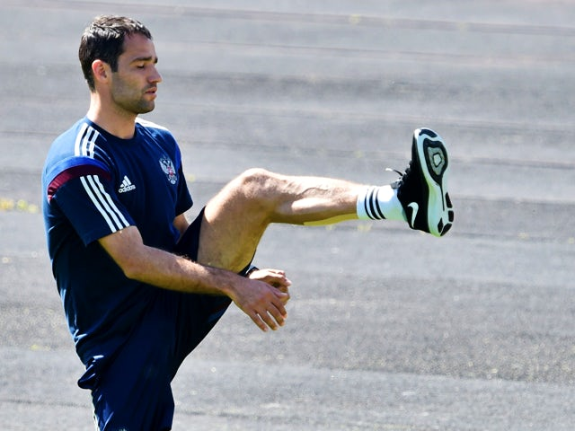Russia's national football team player Roman Shirokov during a training session in Moscow on May 22, 2012