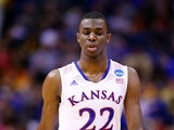 Andrew Wiggins #22 of the Kansas Jayhawks looks on against the Stanford Cardinal during the third round of the 2014 NCAA Men's Basketball Tournament at Scottrade Center on March 23, 2014