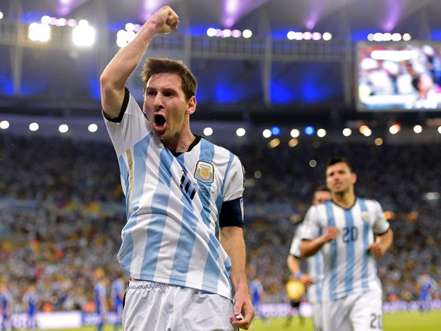 Argentina's forward and captain Lionel Messi celebrates after scoring his team's second goal during the Group F football match between Argentina and Bosnia Hercegovina at the Maracana Stadium in Rio De Janeiro during the 2014 FIFA World Cup on June 15, 20