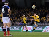Australia's Nic White kicks a penalty goal during the second rugby union test match against France at Etihad Stadium in Melbourne on June 14, 2014