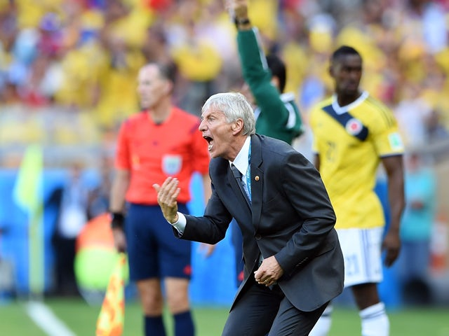 Colombia's Argentinian coach Jose Pekerman reacts during a Group C football match between Colombia and Greece at the Mineirao Arena in Belo Horizonte during the 2014 FIFA World Cup on June 14, 2014