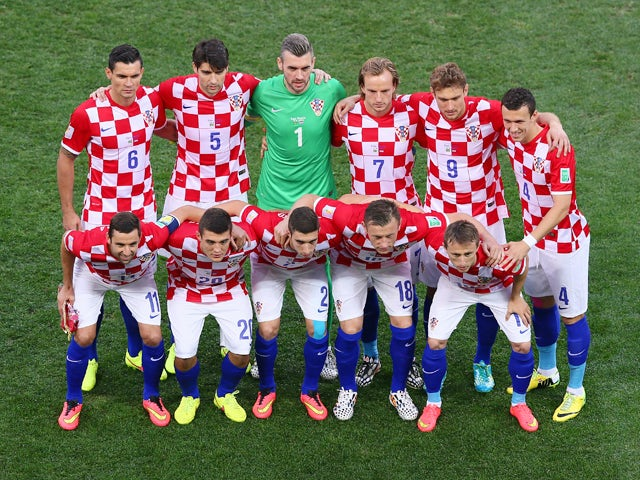 The Croatia team pose prior to the 2014 FIFA World Cup Brazil Group A match between Brazil and Croatia at Arena de Sao Paulo on June 12, 2014