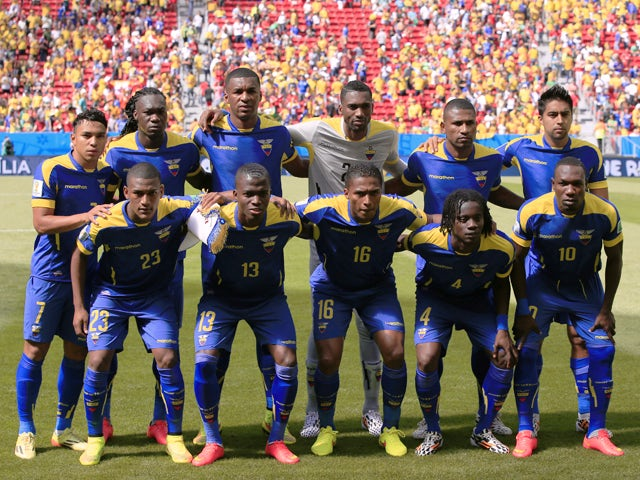 Members of Ecuador's national team pose for the team photo prior to the Group E football match between Switzerland and Ecuador at the Mane Garrincha National Stadium in Brasilia during the 2014 FIFA World Cup on June 15, 2014