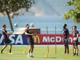 England players Jordan Henderson, Steven Gerrard, Danny Welbeck and Leighton Baines train for the World Cup in Rio de Janeiro on June 10, 2014