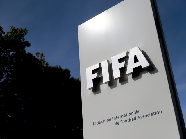 The logo of the global football's governing body FIFA is seen on October 3, 2013