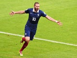 France's forward Karim Benzema after an own goal during a Group E football match between France and Honduras at the Beira-Rio Stadium in Porto Alegre during the 2014 FIFA World Cup on June 15, 2014