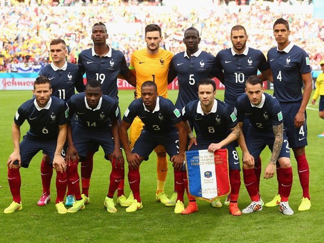 France pose for a team photo prior to the 2014 FIFA World Cup Brazil Group E match between France and Honduras at Estadio Beira-Rio on June 15, 2014