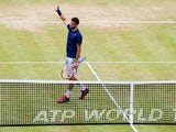 Grigor Dimitrov of Bulgaria celebrates defeating Stan Wawrinka of Switzerland during their Men's Singles semi-final match on day six of the Aegon Championships at Queens Club on June 14, 2014