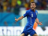 Claudio Marchisio of Italy celebrates scoring his team's first goal during the 2014 FIFA World Cup Brazil Group D match between England and Italy at Arena Amazonia on June 14, 2014