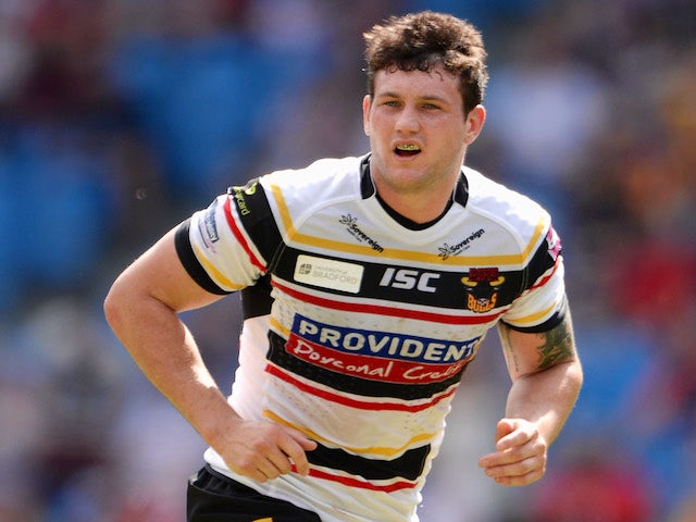 Jay Pitts of Bradford Bulls during the Super League match between Huddersfield Giants and Bradford Bulls at Etihad Stadium on May 18, 2014
