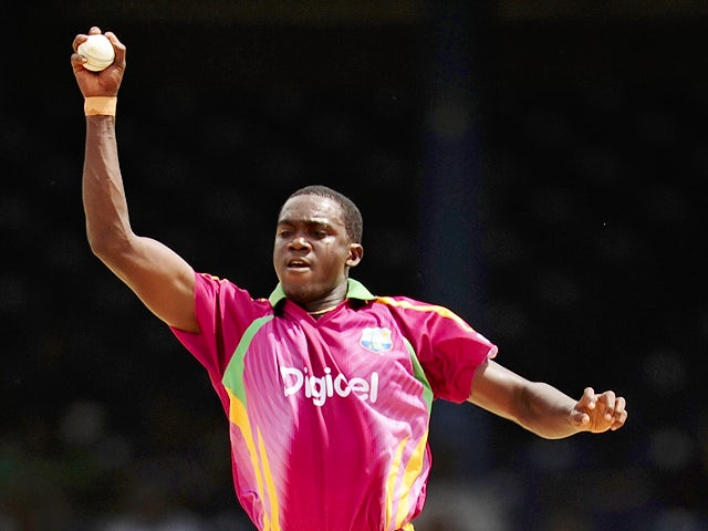 West Indies bowler Jerome Taylor catches a ball during the fifth and final ODI between the West Indies and South Africa on June 3, 2010
