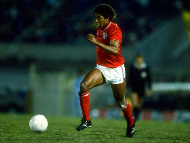 Former Liverpool winger John Barnes in action for England on June 16, 1985.