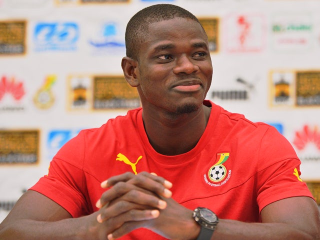 Ghana's national football team defender Jonathan Mensah smiles during a press conference in Maceio, Brazil on June 14, 2014