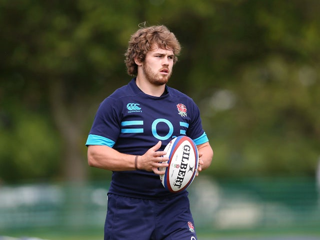 Luke Cowan-Dickie looks on during the England training session held at the Lensbury Club on May 19, 2014