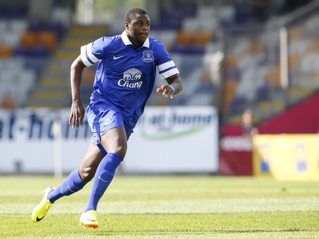 Magaye Gueye of Everton in action during the preseason friendly match between Austria Wien and FC Everton at the Generali Arena on July 14, 2013