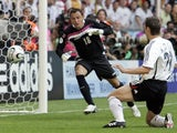 Miroslav Klose scores Germany's second goal of the game against Costa Rica on June 09, 2006.