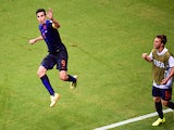 Netherlands' forward Robin van Persie celebrates after scoring during a Group B football match between Spain and the Netherlands at the Fonte Nova Arena in Salvador during the 2014 FIFA World Cup on June 13, 2014