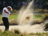Phil Mickelson of the United States hits a shot from a bunker during a practice round prior to the start of the 114th U.S. Open at Pinehurst Resort & Country Club on June 10, 2014