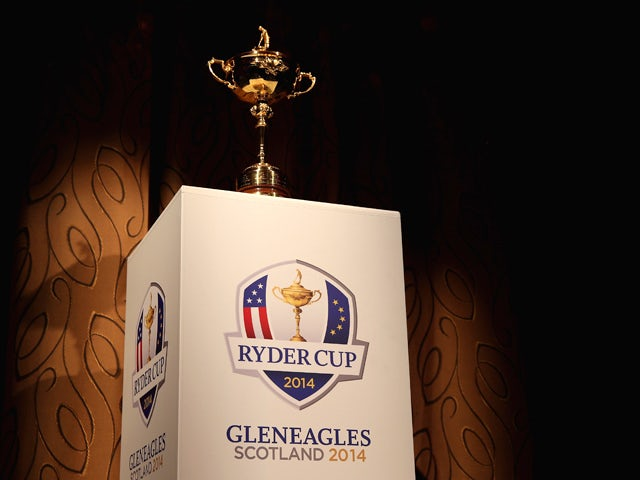 A general view of the Ryder Cup trophy on a branded plinth during a VIP dinner at Gleneagles on September 23, 2013