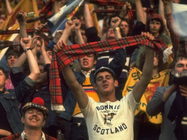Scotland fans cheer on their team at the World Cup in Argentina on June 01, 1978.