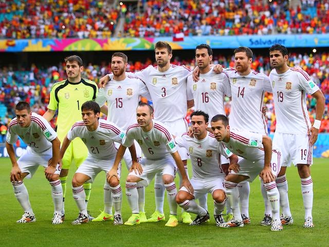 Spain squad to face Netherlands squad on June 13, 2014.