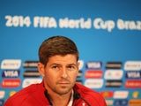 Steven Gerrard of England looks on during the England press conference ahead of their first match of the 2014 FIFA World Cup Brazil against Italy at Arena Amazonia on June 13, 2014