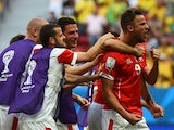 Switzerland's forward Haris Seferovic celebrates after scoring during a Group E football match between Switzerland and Ecuador at the Mane Garrincha National Stadium in Brasilia during the 2014 FIFA World Cup on June 15, 2014